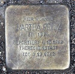 Photo of Martha Prinz brass plaque
