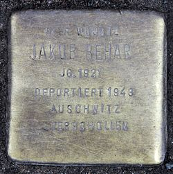 Photo of Jakob Behar brass plaque