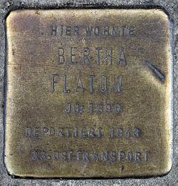 Photo of Bertha Flatow brass plaque