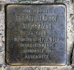 Photo of Bruno Albert Auerbach brass plaque