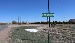 Stoneham, Colorado - A view of Stoneham and Colorado State Highway 14.