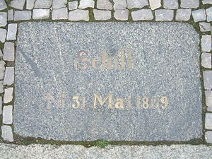 Battle of Stralsund (1809) - Image: Stralsund, Germany, Fährstraße, Schill Gedenkstein (2006 09 29)