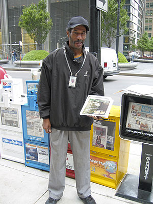 Street newspaper - A vendor for StreetWise in Chicago