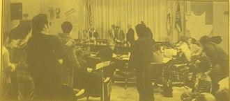 Regents of the Univ. of Cal. v. Bakke - Students protest at a meeting of the Regents of the University of California, June 20, 1977