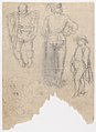 Studies of ten (?) heads and two ears (recto); Studies of three figures and a head (verso) MET DP167070.jpg