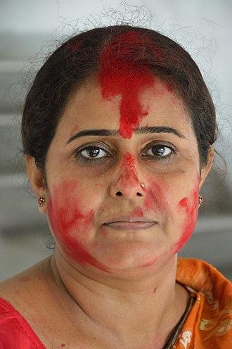 Sindoor - Women from Howrah, India with sindoor.