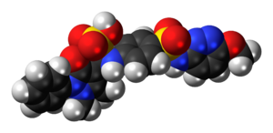 Space-filling model of the sulfamazone molecule