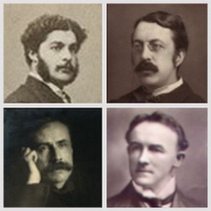 August Manns - Four British composers championed by Manns: top, Sullivan and Stanford; bottom, Elgar and German