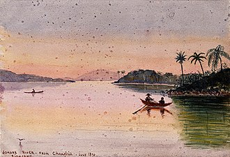 Johor - A painting by John Edmund Taylor showing people in rowboats on the Johor River in the evening seen from Changi in Singapore, July 1879