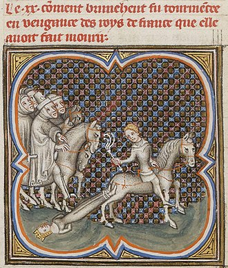 Chlothar II - Brunhilde is dragged to her death
