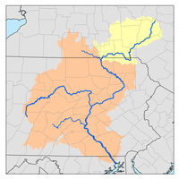 Susquehanna River watershed map with upper Susquehanna River watershed highlighted.png
