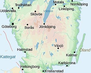 South Swedish highlands - Map centered on the South Swedish highlands.