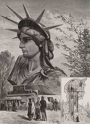 Novelty architecture - Engraving of design for the head of the Statue of Liberty (1879) in the Champ de Mars, Paris, including diagram showing plans for human access