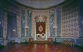 Monarchy of Denmark - The Throne Room at Christiansborg Palace is where foreign ambassadors present their credentials to the Queen.