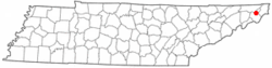 Location of Watauga, Tennessee