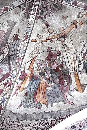 Tågerup Church - Crucifixion scene on the chancel vault