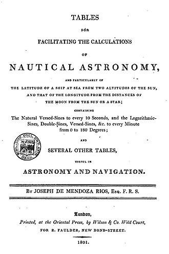 Josef de Mendoza y Ríos - Tables for facilitating the calculations of nautical astronomy