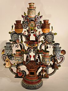 imageof tree of life with Talavera pottery