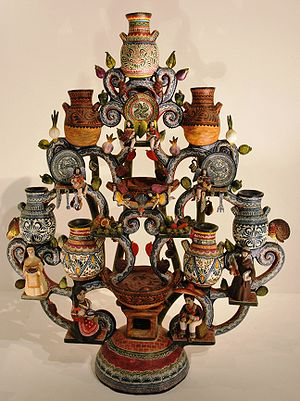 Tree of Life (craft) - Tree with Talavera pottery theme