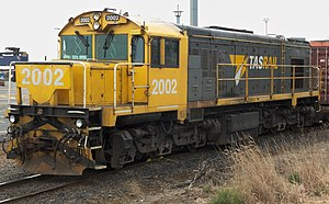New Zealand DQ and QR class locomotives - DQ 2002 outside the Port of Burnie.