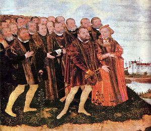 Margaret of Brandenburg, Duchess of Pomerania - The Baptism of Christ (detail), 1556, by Lucas Cranach the Younger.  The two people at the front are said to represent Margrave John of Küstrin and his sister Margareta.  In the background, the Royal Palace at Dessau is depicted.  The scene refers to Margaret's second marriage in 1534 in Dessau.