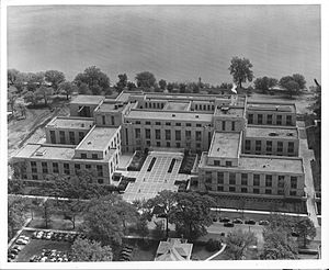 Northwestern University - Technological Institute in 1942, after the relocation of Patten Gymnasium but before the construction of the Lakefill