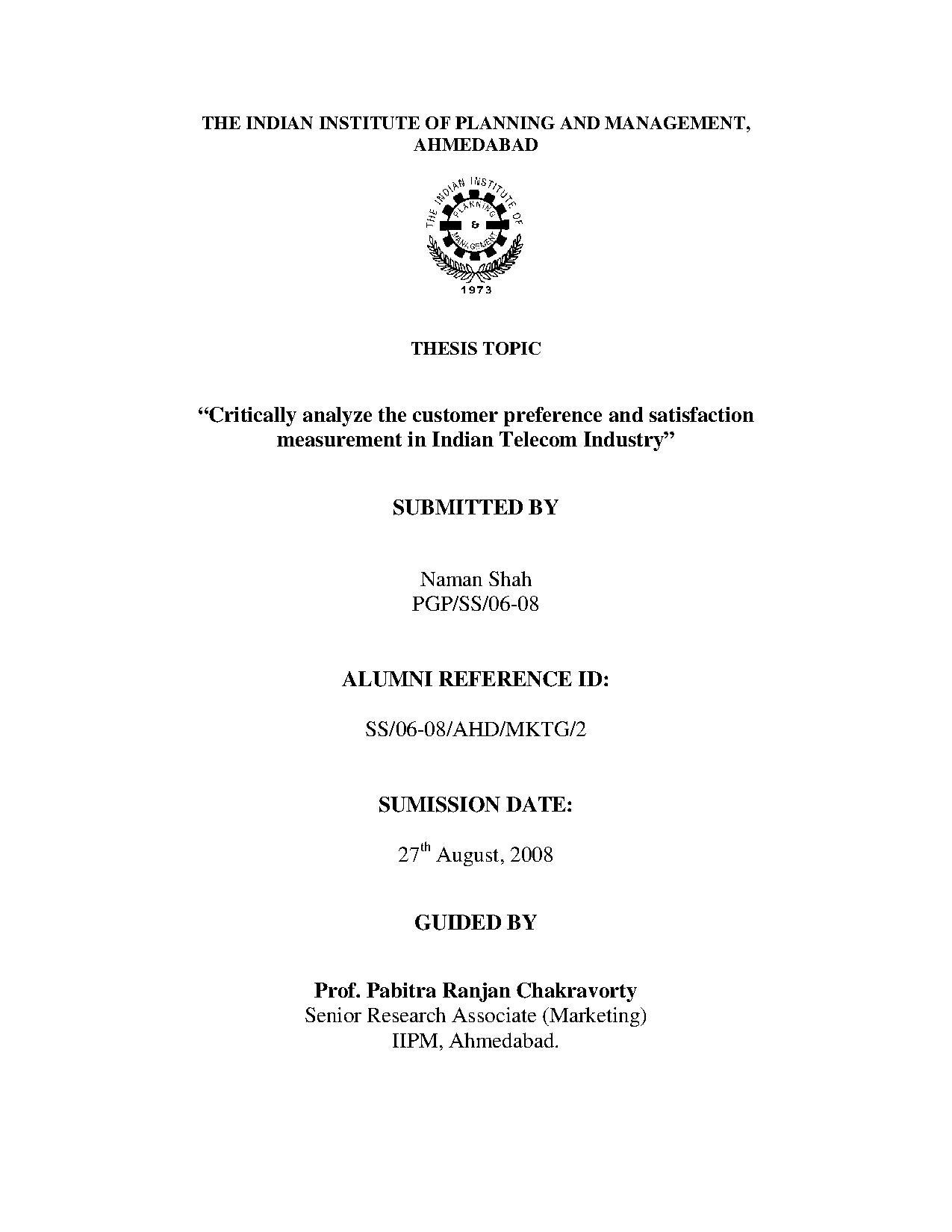 Synopsis phd thesis computer science