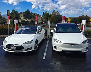 Tesla Model X - The Tesla Model S (left) and Model X (right) share the same platform and 30% of their parts