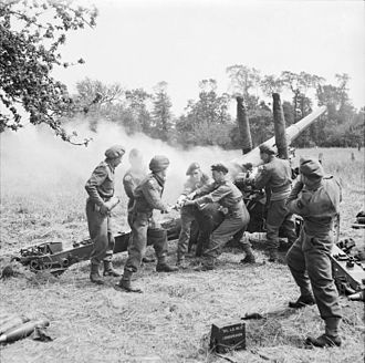 Barrage (artillery) - British 4.5 inch gun in action near Tilly-sur-Seulles during the Battle of Normandy, 1944.