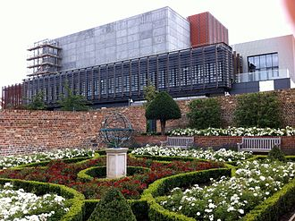 High House, Purfleet - View of The Backstage Centre from the walled garden, October 2012