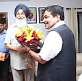 The Chief Minister of Punjab, Shri Parkash Singh Badal calling on the Union Minister for Road Transport & Highways and Shipping, Shri Nitin Gadkari, in New Delhi on June 12, 2014.jpg
