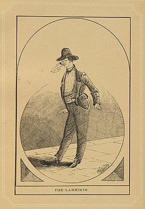 Larrikin - Depiction of a larrikin, from Nelson P. Whitelocke's book A Walk in Sydney Streets on the Shady Side (1885)