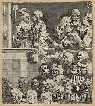 """Parterre (theater audience) - An etching by William Hogarth showing """"The Laughing Audience"""" and a sour-faced critic, 1733."""
