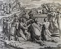 The Phillip Medhurst Picture Torah 454. Worshipping the golden calf. Exodus cap 32 vv 5-19. after Raphael.jpg