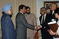 The President of Pakistan Gen. Pervez Musharraf shaking hands with the Indian Foreign Secretary designate, Shri Shiv Shankar Menon at bilateral talks on the sidelines the XIVth Non-Aligned Movement Summit at Havana, Cuba.jpg