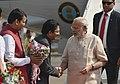 The Prime Minister, Shri Narendra Modi being welcomed by the Governor of Maharashtra, Shri C. Vidyasagar Rao and the Chief Minister of Maharashtra, Shri Devendra Fadnavis, on his arrival at Mumbai Airport.jpg