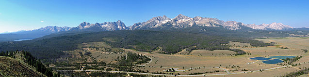 A panorama of the Sawtooth Mountains from a ridge southeast of Stanley