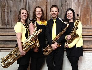Saxophone quartet - The Spiral Saxophone Quartet in 2013 with SATB saxophones.