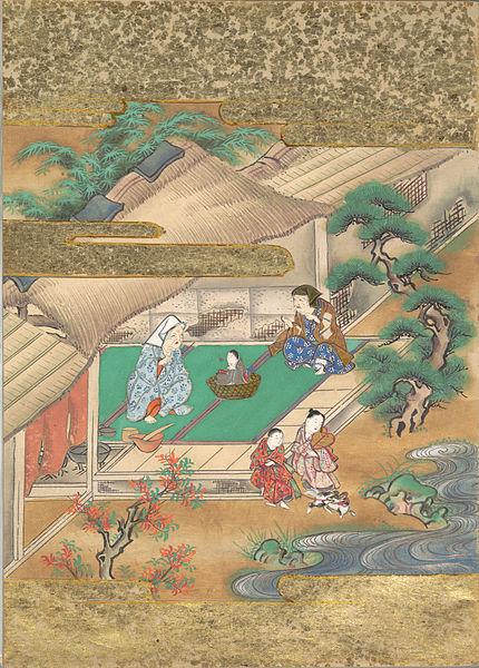 かぐや姫を籠に入れて育てる翁夫妻。17世紀末(江戸時代後期)