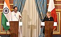 The Vice President, Shri M. Venkaiah Naidu and the President of Malta, Ms. Marie-Louise Coleiro Preca making Joint Press Statement, at San Anton Palace, Halbalzan, Malta on September 17, 2018.JPG