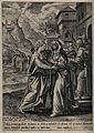 The Visitation of Mary to Elizabeth. Engraving by J. Sadeler Wellcome V0034584.jpg