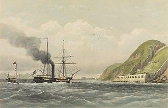 HMS Vulture (1843) - Image: The Vulture at Bocca Tigris