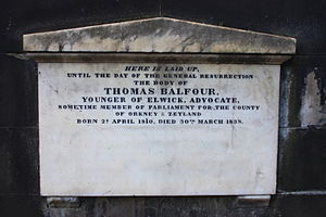 Thomas Balfour - The grave of Thomas Balfour MP, St John's Churchyard, Edinburgh