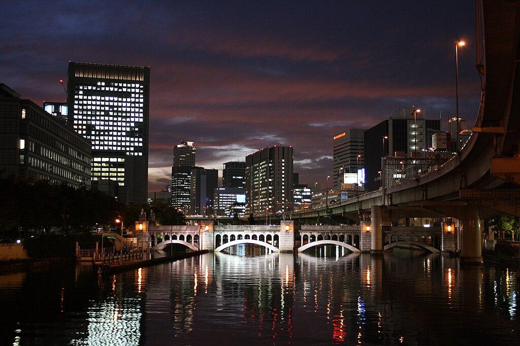 The night view of the suishou-bridge in Osaka Nakanoshima
