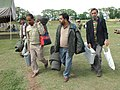 The polling officials carrying polling materials for use in the fourth phase of General Elections-2009 at Bakshi Stadium, in Srinagar on May 06, 2009.jpg