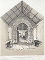 The porch and entrance to Llanbadarn Fawr church. Through doorway it shows priest adminstrating holy baptism at the font 1860.jpg
