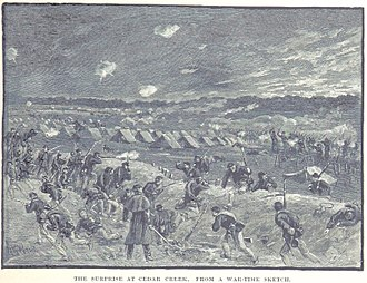 Battle of Cedar Creek - The Confederate attack hits the rear of the XIX Corps