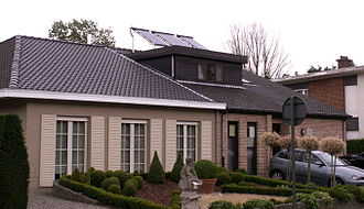 Solar water heating - A solar water heater installed on a house in Belgium