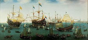 Second Dutch Expedition to Indonesia - The voyage's return in 1599, by Cornelis Vroom