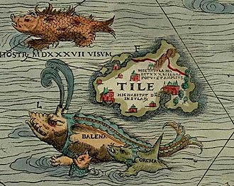 "Thule - Thule as Tile on the Carta Marina of 1539 by Olaus Magnus, where it is shown located to the northwest of the Orkney islands, with a ""monster, seen in 1537"", a whale (""balena""), and an orca nearby."